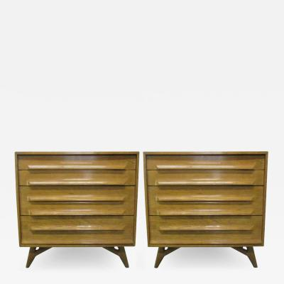 Pair of Mid Century Modern Cerused Oak Chests