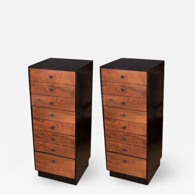 Pair of Mid Century Modern Chests by Harvey Prober Rosewood Oak