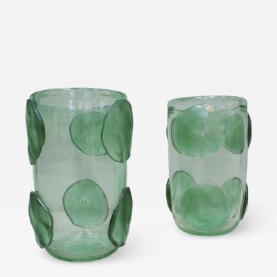 Pair of Mid Century Modern Costantini Murano Glass Italian Vases
