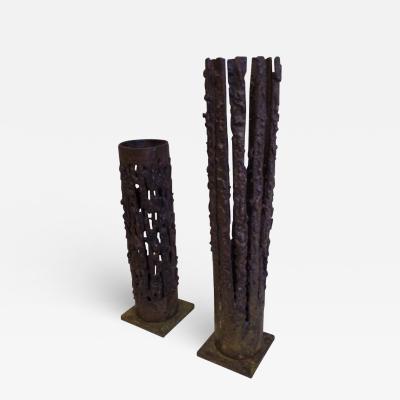 Pair of Mid Century Modern Craftsman Brutalist Candelabra in Bronze
