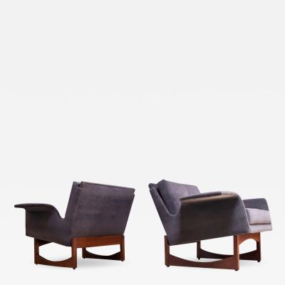 Pair of Mid Century Modern Floating Lounge Chairs in Walnut and Velvet