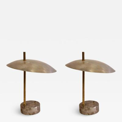 Pair of Mid Century Modern Industrial Steel and Brass Desk or Table Lamps 1950