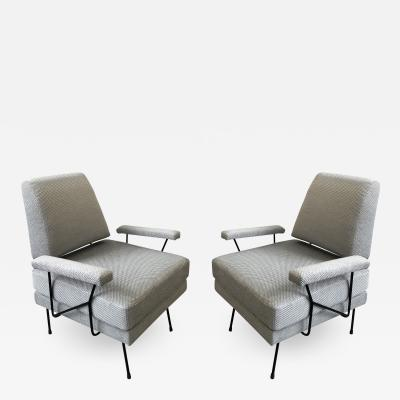 Pair of Mid Century Modern Iron Chairs