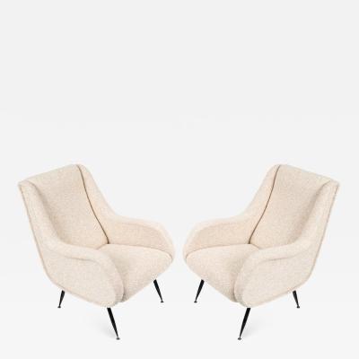 Pair of Mid Century Modern Italian Lounge Chairs in White Fabric