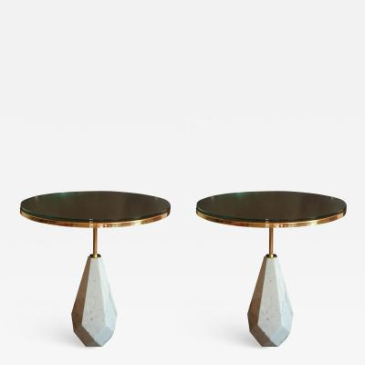 Pair of Mid Century Modern Italian round coffee tables in white marble brass