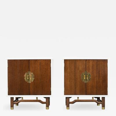 Pair of Mid Century Modern Lacquered Finish Nightstands