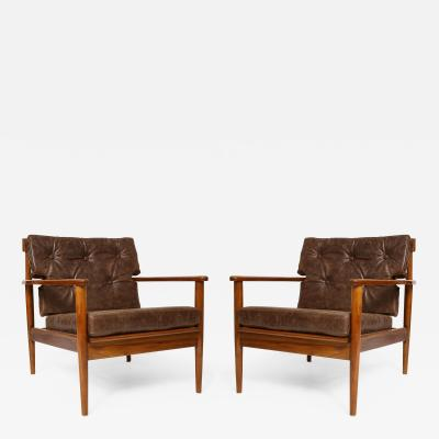 Pair of Mid Century Modern Lounge Chairs in the Finn Juhl Manner