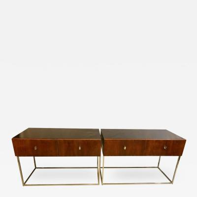 Pair of Mid Century Modern Rougier Ebony Rosewood Tables Commodes Nightstands
