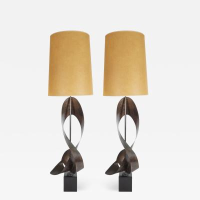 Pair of Mid Century Modern Sculptural Brutalist Patinated Steel Ribbon Lamps