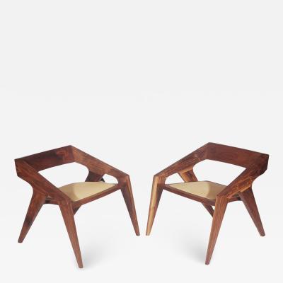 Pair of Mid Century Modern Studio Hank Lounge Chairs by Jory Brigham in Walnut