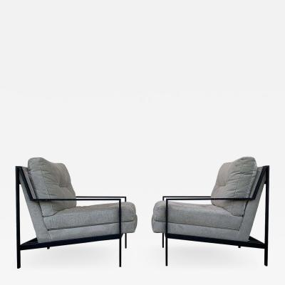 Pair of Mid Century Modern Style Armchairs with Black Metal Frames