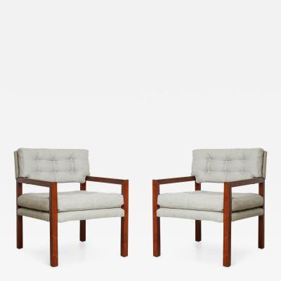 Pair of Mid Century Modern Walnut Framed Armchairs Restored circa 1960