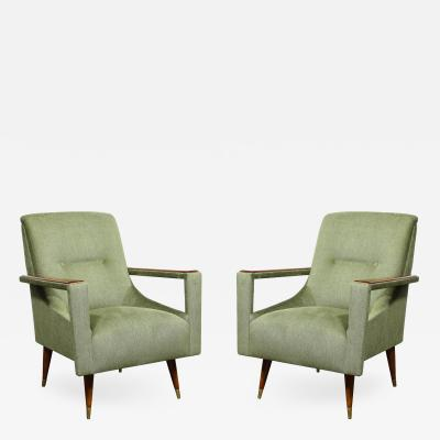 Pair of Mid Century Modern Walnut Moss Green Upholstery Arm Cutout Chairs
