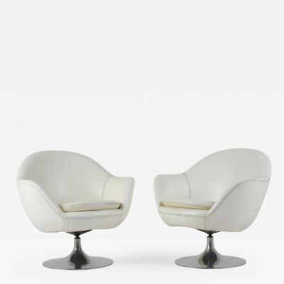 Pair of Mid Century Modern style Swivel Lounge Chairs