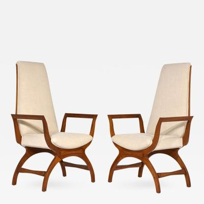 Pair of Mid Century Modern style Tall Back Lounge Chairs