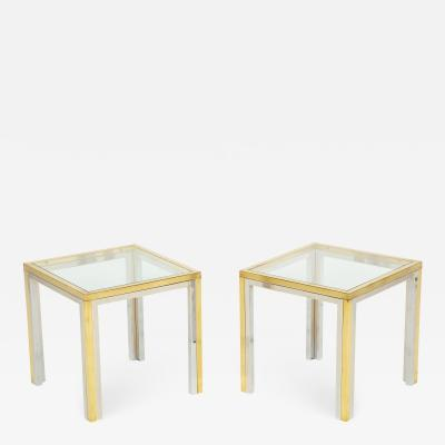 Pair of Mid Century Polished Chrome Glass Brass Tables