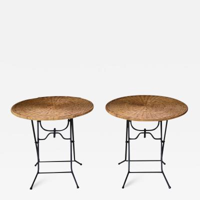 Pair of Mid Century Rattan and Wrought Iron Side Tables