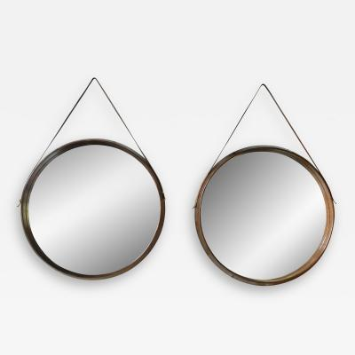 Pair of Mid Century Teak Wall Round Mirrors 1960s