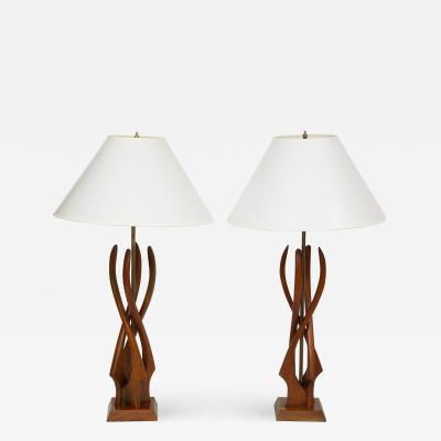 Pair of Mid Century Teakwood Lamps