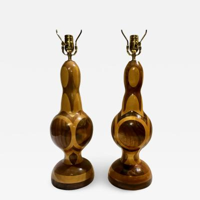 Pair of Mid Century Turned Wood Lamps
