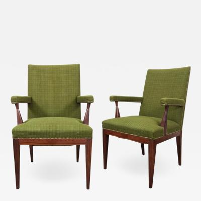 Pair of Mid Century Upholstered Rosewood Chairs