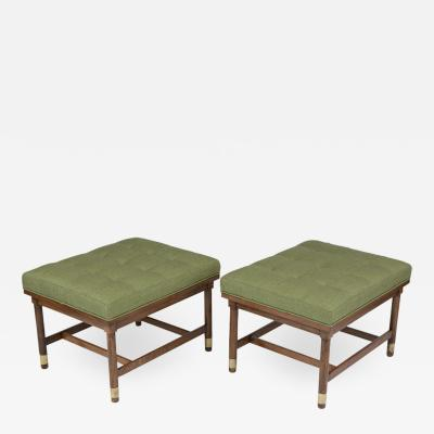 Pair of Mid Century Walnut Tufted Benches