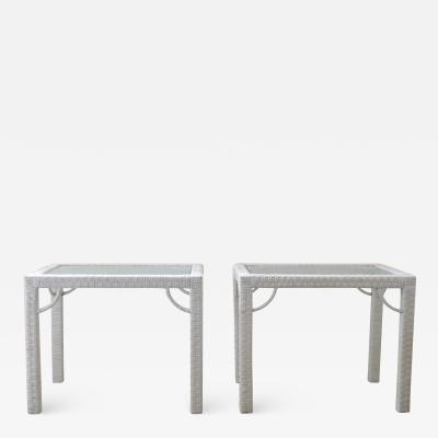 Pair of Mid Century White Lacquered Rattan Side Tables