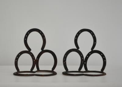 Pair of Mid Century Wrought Iron Horseshoe Bookends