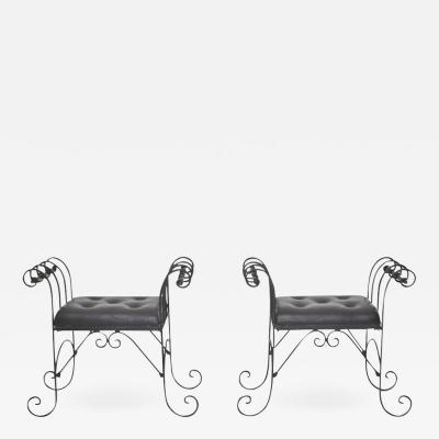 Pair of Mid Century Wrought Iron Tufted Leather Benches