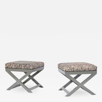 Pair of Mid Century Zebra Benches