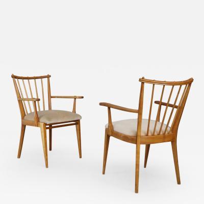 Pair of Mid century armchair Swedish design armchairs in wood cherry and velvet