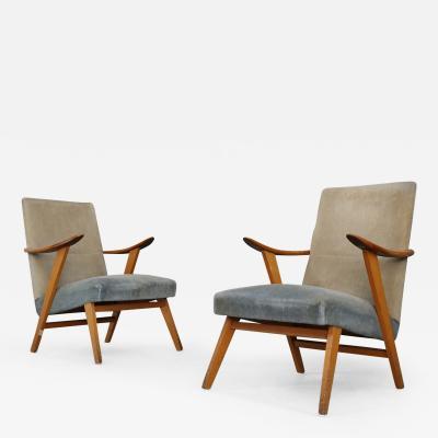 Pair of MidCentury Scandinavian Design in Cherry Wood and velvet 1950s