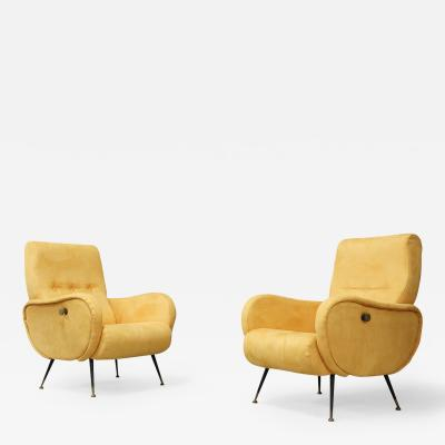 Pair of MidCentury reclining armchairs in yellow velvet in Zanuso style 1950s