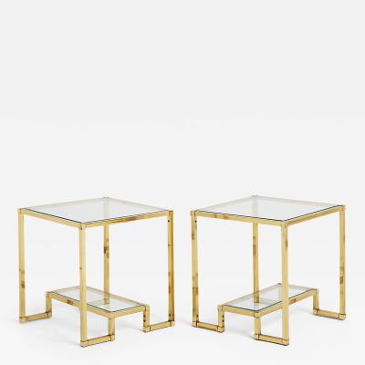 Pair of Midcentury Brass Two Tiered Side Tables