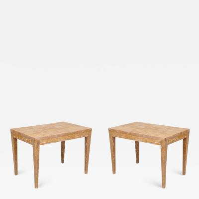 Pair of Midcentury Cerused Oak Parquetry Tables on Tapered Legs