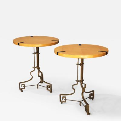 Pair of Midcentury Gueridon French folding in brass and pearwood 1960s