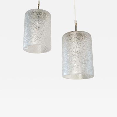 Pair of Midcentury Hand Blown Glass Swedish Pendants