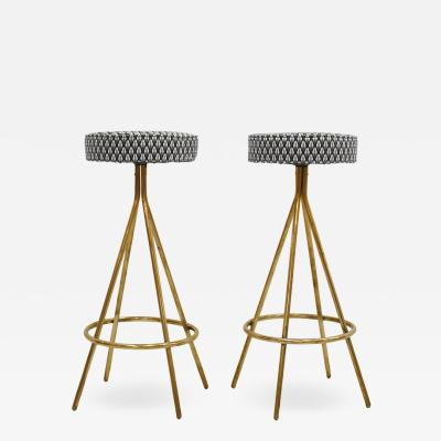 Pair of Midcentury Style Circular Italian Bar Stools Upholstered in Dedar Fabric