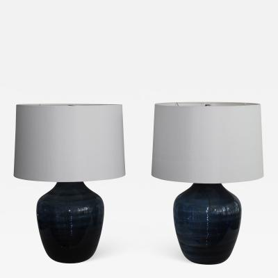 Pair of Midnight Blue Murano Glass Table Lamps