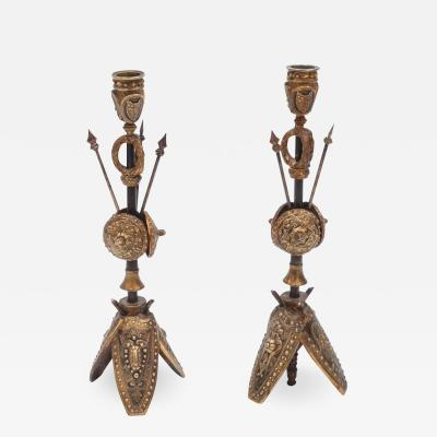 Pair of Military Inspired Cast Bronze Candlesticks