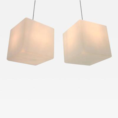 Pair of Milk Glass Cube Pendants by Stilnovo Italy 1960s