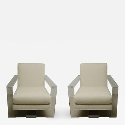 Pair of Milo Baughman Style Lucite Arm Chairs