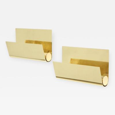 Pair of Minimalist Italian Brass Sconces
