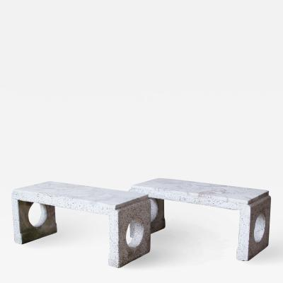 Pair of Minimalist Italian Marble and Terrazzo Benches