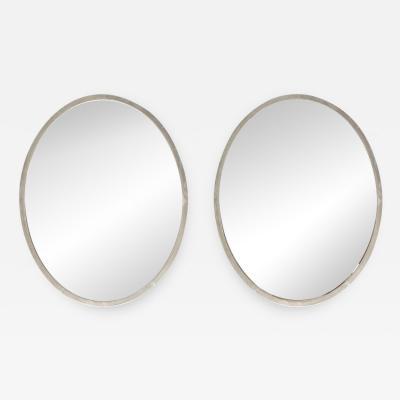 Pair of Minimalist Swedish Mirrors with Nickel Frames