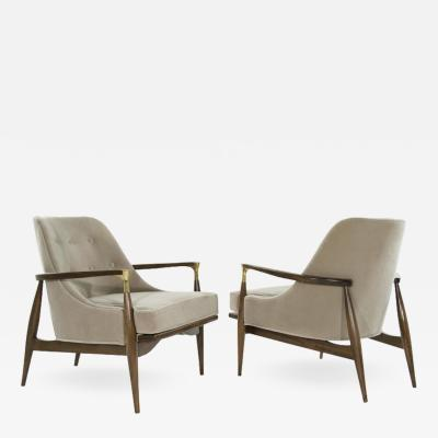 Pair of Modern Brass Accented Walnut Lounge Chairs 1950s