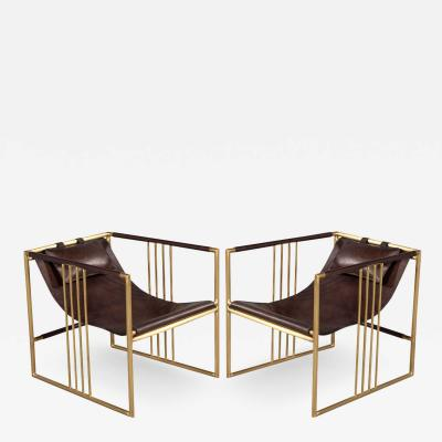 Pair of Modern Brass Leather Lounge Chair Bison by McGuire Haybine