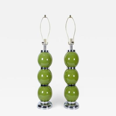 Pair of Modern Chrome Lime Green Stacked Ball Table Lamps USA circa 1970