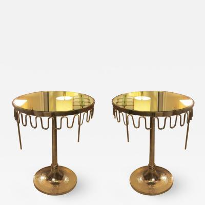 Pair of Modern Chrome Mirrored Top Tables