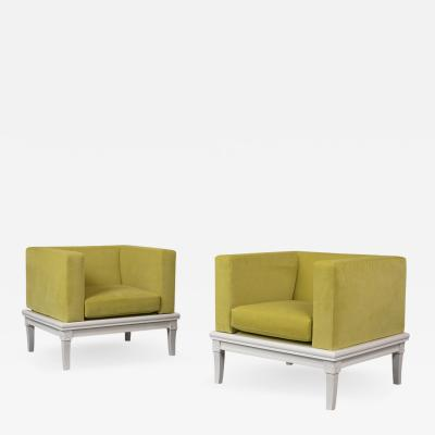Pair of Modern Lowback Cube Lounge Chairs